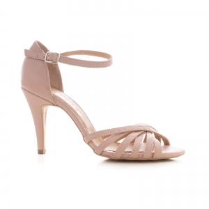 Sandale cu barete, din piele naturala nude roze0