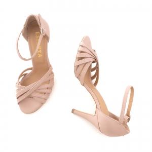 Sandale cu barete, din piele naturala nude roze2