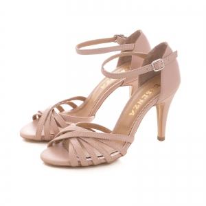 Sandale cu barete, din piele naturala nude roze1