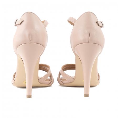 Sandale cu barete, din piele naturala nude roze3