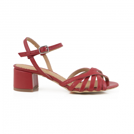 Sandale cu barete, din piele naturala rosie0