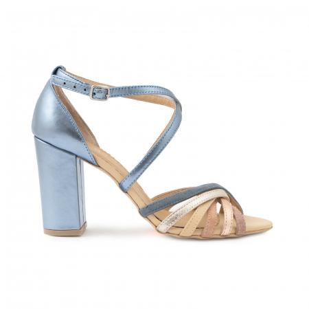 Sandale cu barete multicolore din piele albastra , nude auriu si auriu roze0