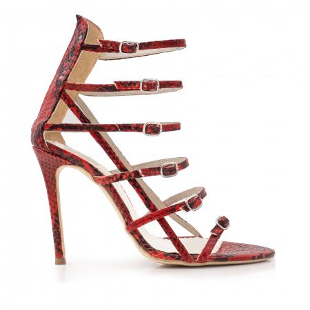 Sandale cu barete multiple, din piele naturala cu azpect tip piton0