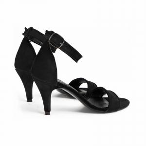 Sandale cu barete paspolate, din piele intoarsa neagra2