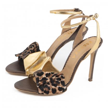Sandale cu funda, din piele laminata aurie, piele broz sidef si piele de ponei cu animal print [1]