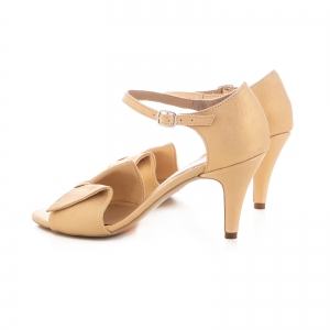 Sandale cu funda, din piele auriu patinat [2]