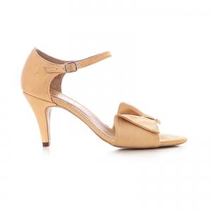 Sandale cu funda, din piele auriu patinat [0]