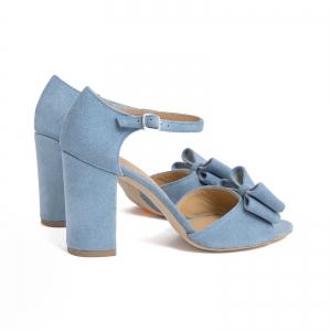 Sandale cu funde duble, din piele intoarsa albastru deschis2