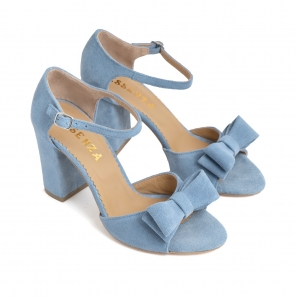 Sandale cu funde duble, din piele intoarsa albastru deschis1