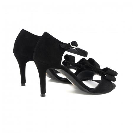 Sandale cu funde duble, din piele intoarsa neagra2