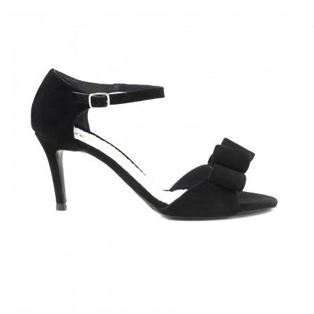 Sandale cu funde duble, din piele intoarsa neagra0