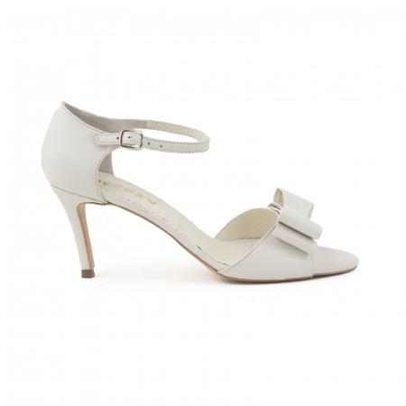 Sandale cu funde duble, din piele naturala alba0