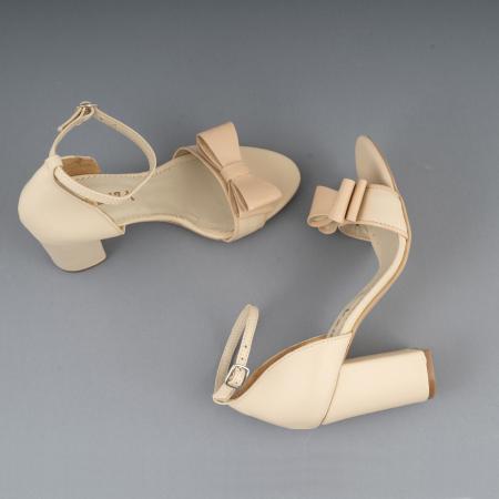 Sandale cu fundita, din piele naturala albastra alb-unt si pielr nude rose3