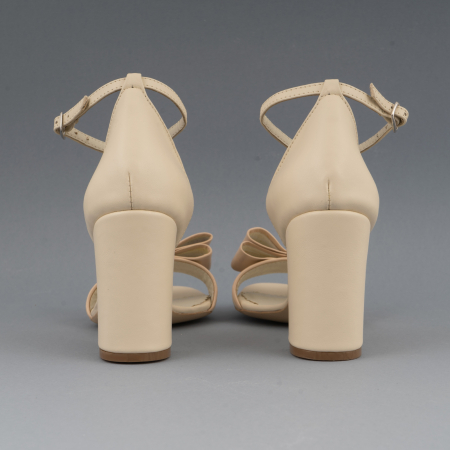 Sandale cu fundita, din piele naturala albastra alb-unt si pielr nude rose4