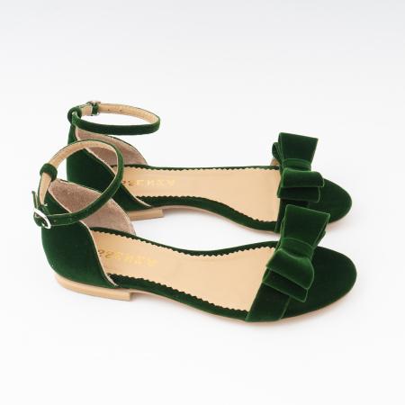 Sandale cu fundite, din din catifea verde, cu captusala din piele naturala3