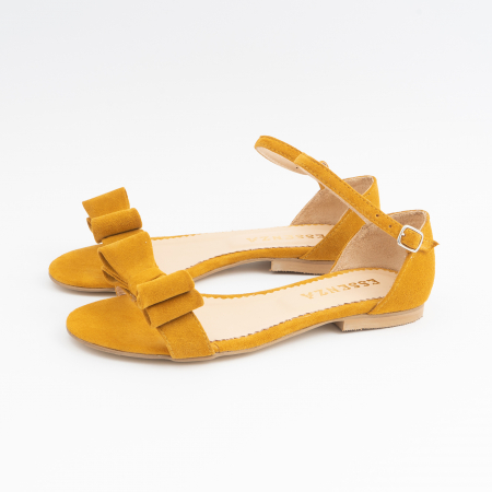 Sandale cu fundite, din piele intoarsa galben -mustar [1]