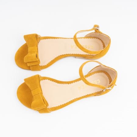 Sandale cu fundite, din piele intoarsa galben -mustar [3]