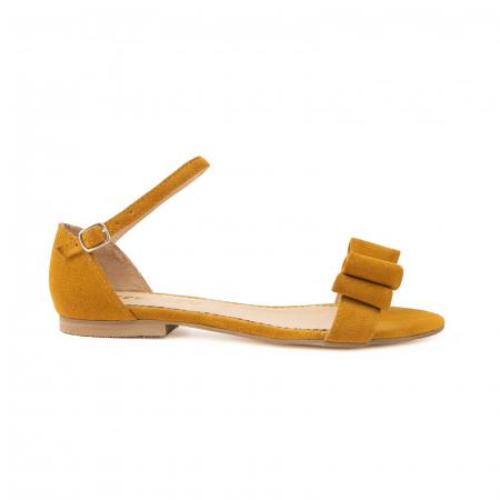 Sandale cu fundite, din piele intoarsa galben -mustar [0]