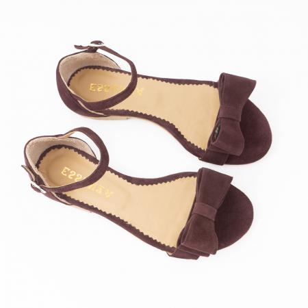 Sandale cu fundite, din piele intoarsa mov-pruna2