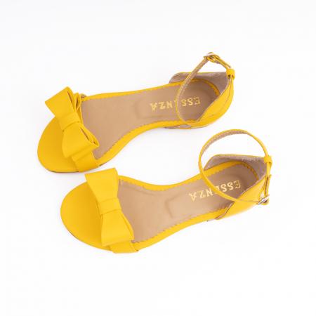 Sandale cu fundite, din piele naturala galbena2