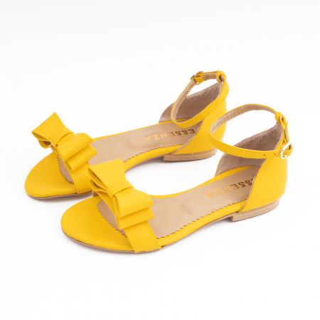 Sandale cu fundite, din piele naturala galbena1