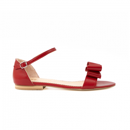Sandale cu fundite, din piele naturala rosie0