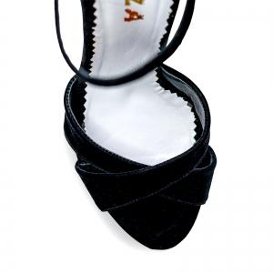 Sandale cu platforma, din catifea neagra3
