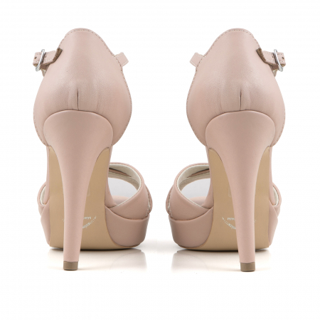 Sandale cu platforma, din piele naturala roz3