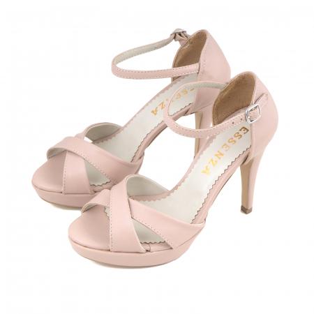 Sandale cu platforma, din piele naturala roz1