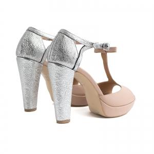 Sandale cu platforma si toc gros, din piele nude-roze si piele laminata argintie2