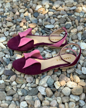 Sandale cu talpă joasă, din piele intoarsa mov si roz0