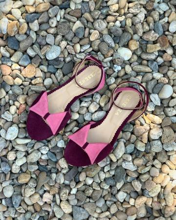 Sandale cu talpă joasă, din piele intoarsa mov si roz1