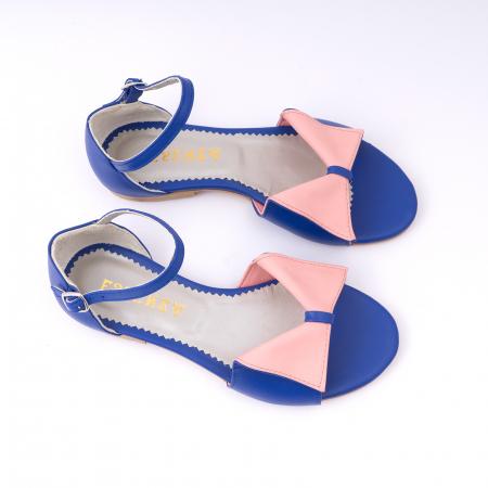 Sandale cu talpă joasă, din piele naturala albastra si roz.2