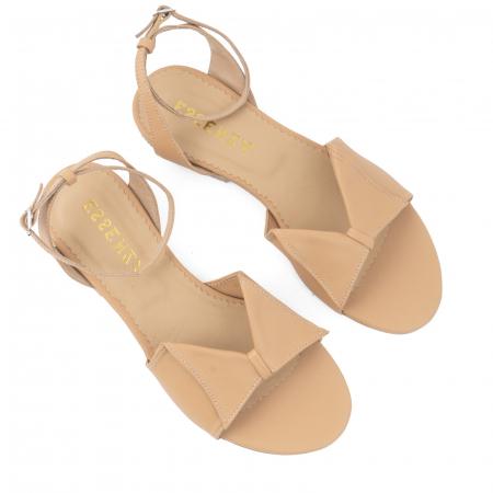 Sandale cu talpă joasă, din piele naturala beige2