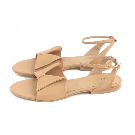 Sandale cu talpă joasă, din piele naturala beige1
