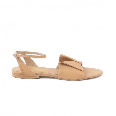 Sandale cu talpă joasă, din piele naturala beige0