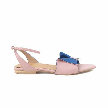 Sandale cu talpă joasă, din piele naturala roz si albastra0