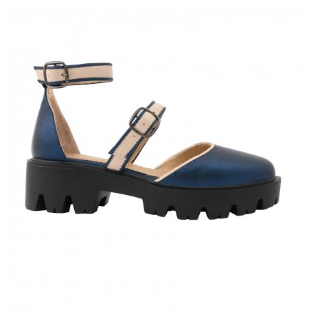 Sandale cu talpa groasa, din piele naturala nude rose si albastru laminat0
