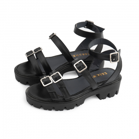 Sandale cu talpa groasa si barete cu catarame, din piele naturala neagra.1