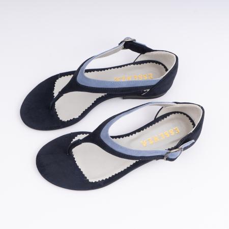 Sandale cu talpa joasa, cu bareta intre degete, din piele intoarsa albastru inchis si albastru deschis1