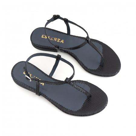 Sandale cu talpa joasa, cu bareta intre degete, din piele naturala neagra cu textura de sarpe [2]