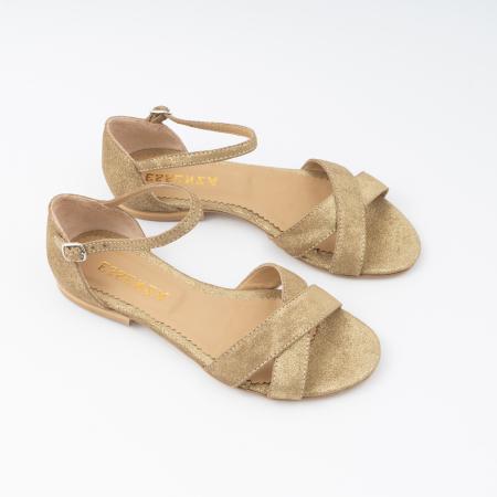 Sandale cu talpa joasa, cu barete suprapuse, din piele naturala auriu glitter.2