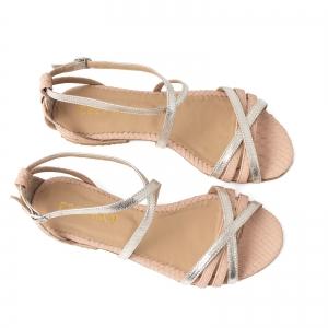 Sandale cu talpa joasa, din piele aurie si piele roze cu textura piton [3]