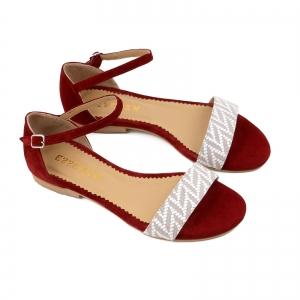 Sandale cu talpa joasa, din piele intoarsa burgundy si piele alb/beige1