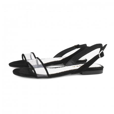 Sandale cu talpa joasa, din piele intoarsa neagra si plastic transparent1