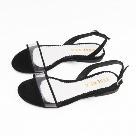 Sandale cu talpa joasa, din piele intoarsa neagra si plastic transparent2