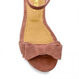 Sandale cu talpa joasa, din piele intoarsa roz somon, cu fundite [2]