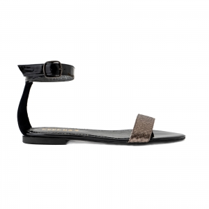 Sandale cu talpa joasa, din piele lacuita neagra si piele laminata bronz texturat [0]