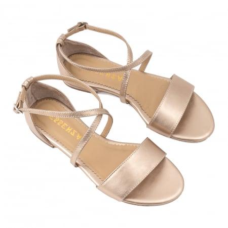 Sandale cu talpa joasa, din piele laminata, auriu-bronz2