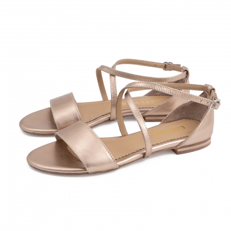 Sandale cu talpa joasa, din piele laminata, auriu-bronz1
